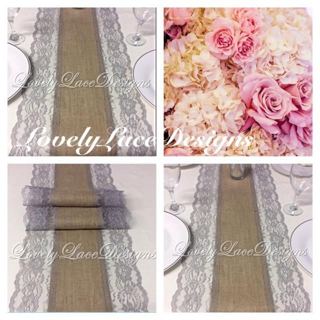 Burlap lace table runner grey lace 5ft 10ft x 13 wide for 10 foot table runner