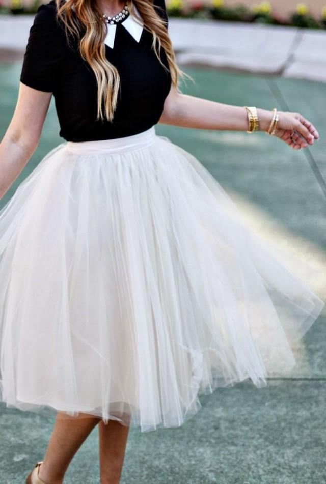 Adult tulle skirt ladies stylish tutu dress custom for Tea length wedding dress tulle skirt