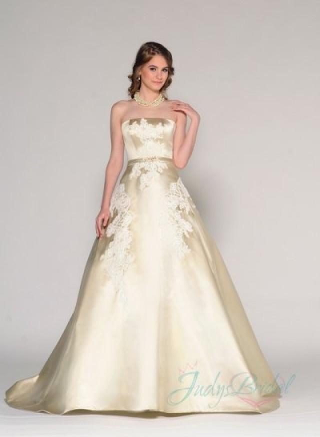 Elegant gold color strapless simple 2016 wedding dress for Simple colored wedding dresses