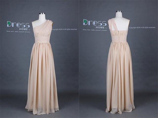 New Arrival Champagne One Shoulder Chiffon Long Bridesmaid Dress Simple Wedding Party Dress Maid