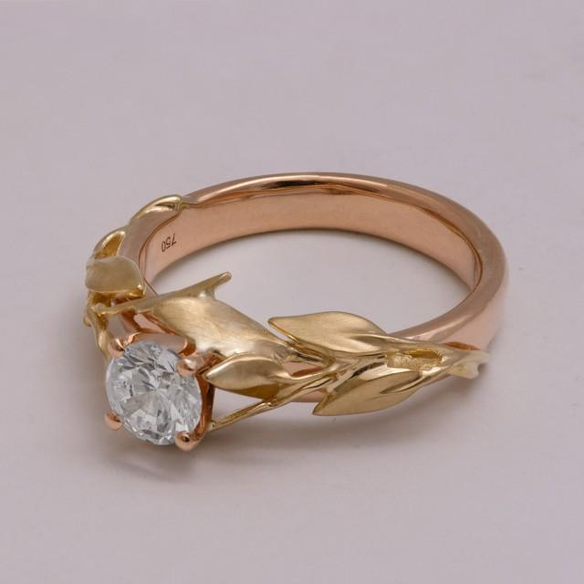 Two Tone Leaves Engagement Ring 14K Yellow And Rose Gold Diamond Ring Uniq