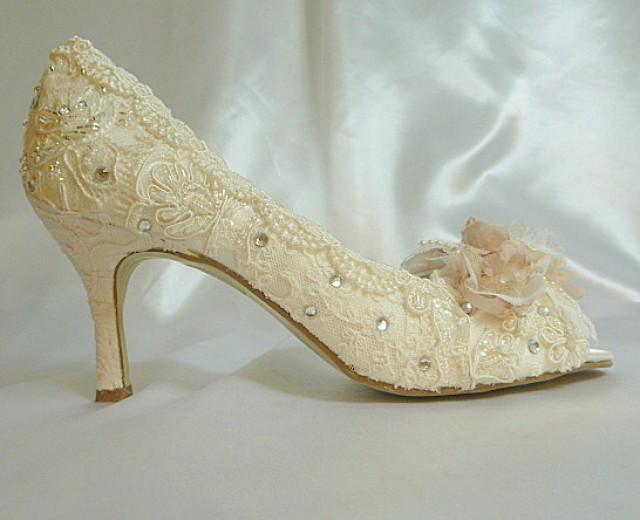 Low Heel Wedding Shoes Vintage Lace Blush And Ivory Lacy Rose Bridal Heels Shabby Chic FREE US Postage 2409497