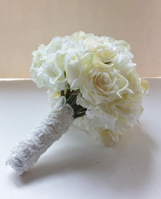 All Ivory Bouquet, Calla Lily, Rose U0026 Hydrangea Bouquet, Bridal Bouquet,  Wedding Bouquet #2410034   Weddbook