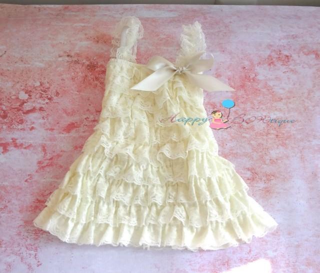 wedding photo - Flower girl dress- Vintage Ivory Lace Dress, Girls dress,baptism dress,ruffle dress,Birthday dress,Christening, Rustic wedding, Burlap,Girls