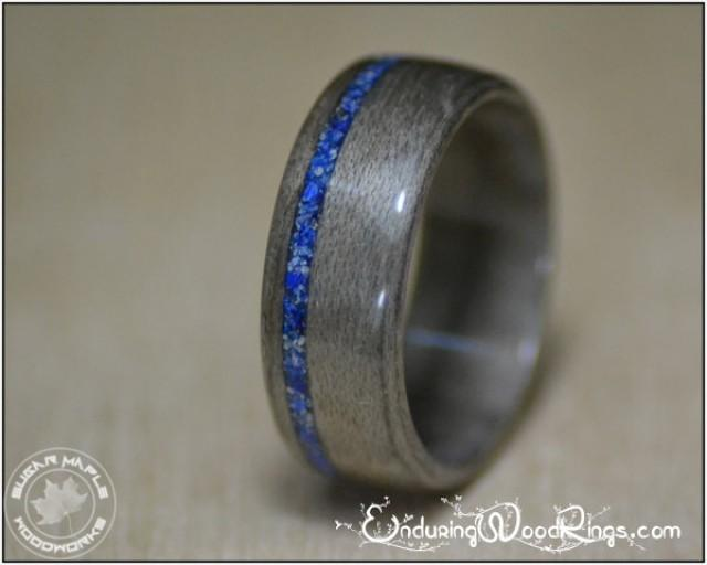 4 Year Wedding Anniversary Gifts For Men: Grey Maple Wood Ring With Lapis Inlay, Mens Rings, Mens