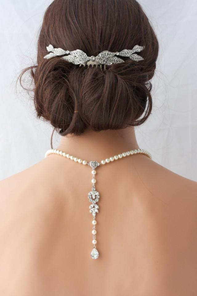 Pearl backdrop bridal necklace crystal pearl wedding for Back necklace for wedding dress