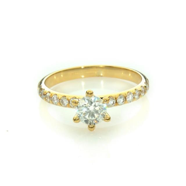 Natural Diamond Engagement Ring Solitaire Gold Ring Unique Engagement Rin