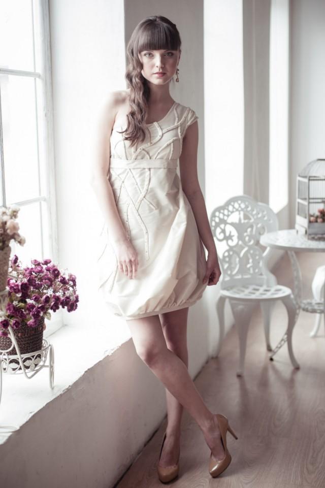 On sale short wedding dress coctail dress champagne for Short wedding dress sale