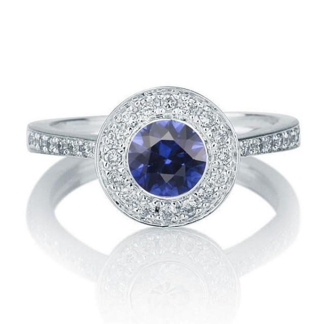 Bezel Set Ring Blue Sapphire Engagement Ring 14K White Gold Ring Halo Ring 112 TCW Sapphire