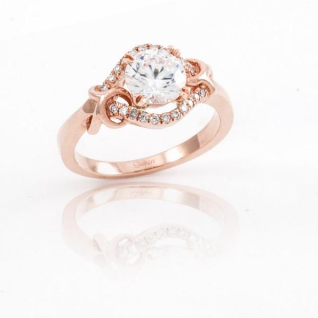 Antique Engagement Ring 14K Rose Gold In Prong Setting Unique Engagement Ring