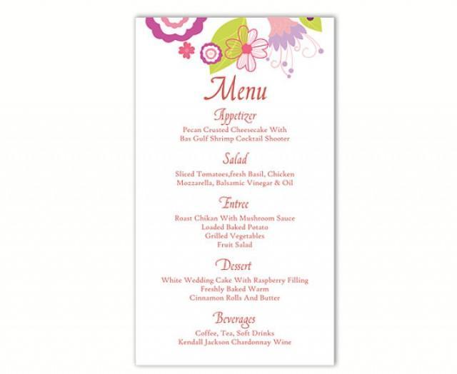 wedding menu template diy menu card template editable text word file instant download colorful. Black Bedroom Furniture Sets. Home Design Ideas