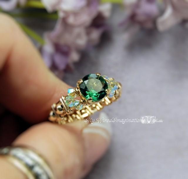 Green Quartz Cz Wire Wrapped Ring Handmade Signature