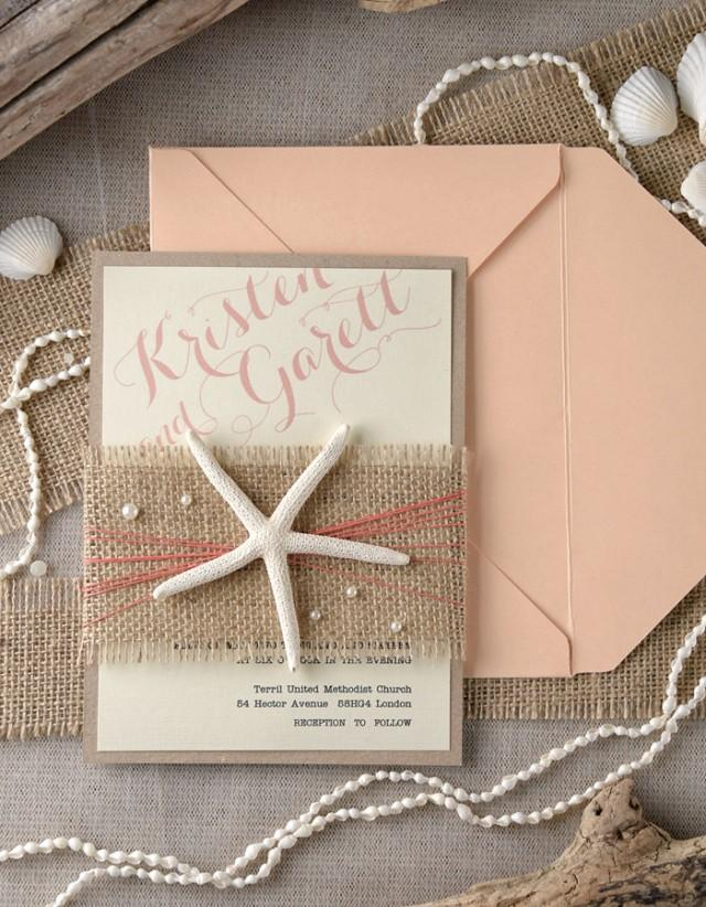 Beach Wedding Invitations 20 Peach Coral Starfish Invitation Destination Invites White