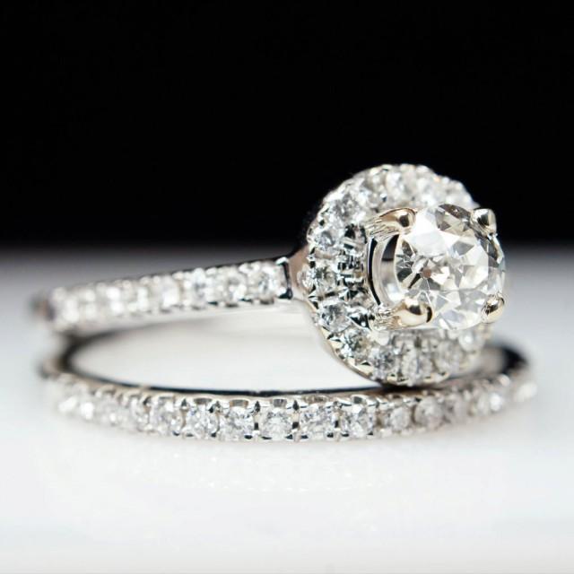 sale beautiful 76ct 14k white gold round solitaire halo diamond engagement ring wedding band set complete bridal wedding set 2412518 weddbook - Engagement Rings With Wedding Band Set
