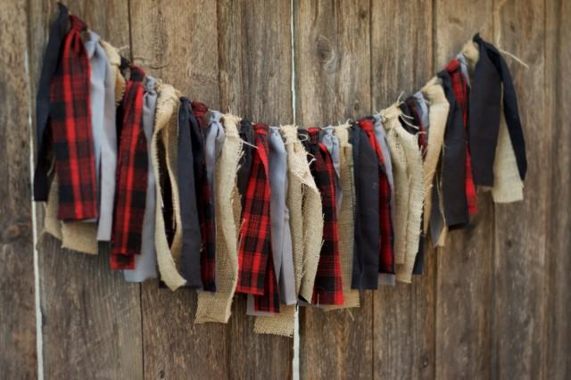 Lumberjack Rag Tie Garland Buffalo Plaid Fabric Garland