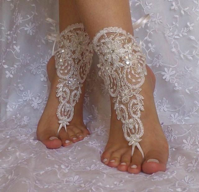 wedding photo - ivory silver beaded lace barefoot sandal beach wedding