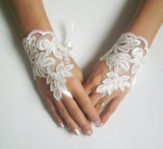 wedding photo - Ivory Wedding gloves french lace gloves bridal gloves lace gloves fingerless gloves ivory gloves free ship