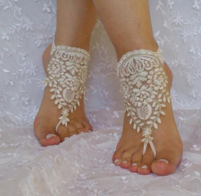 wedding photo - Free ship ivory gold cord wedding barefoot sandles anklet prom party barefeet bangle beach anklets bangles bridal bride bridesmaid
