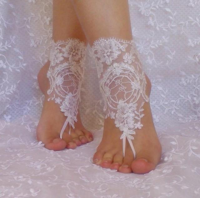 wedding photo - Free Ship bridal bangle white silvery beach wedding barefoot sandals