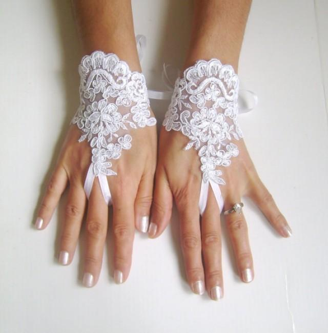 wedding photo - White Wedding gloves free ship bridal lace fingerless french lace arm warmers mittens cuff gauntlets fingerloop