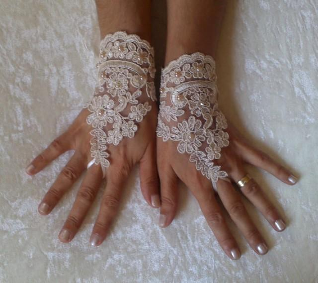 wedding photo - Champagne pearl rhinestone lace Wedding gloves bridal gloves fingerless lace gloves champagne gloves french lace gloves free ship 252
