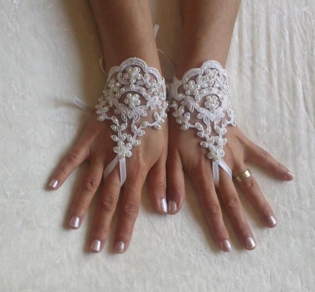 wedding photo - Beaded lace glove ivory handmade free ship