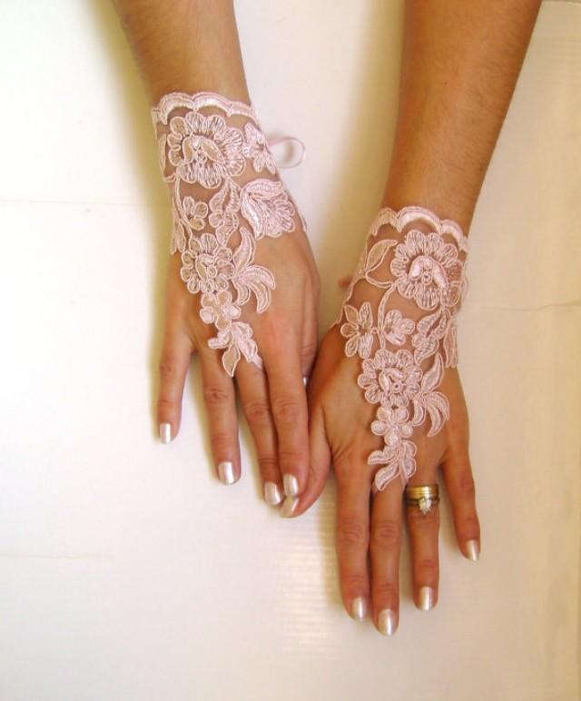 wedding photo - Soft pale pink Wedding gloves lace gloves free ship bridal gloves prom party bridesmaid gift 0018