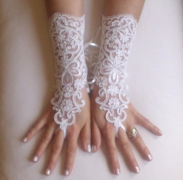 wedding photo - ivory Wedding gloves free ship bridal lace fingerless french lace arm warmers mittens cuff gauntlets fingerloop, Long lace glove rustic