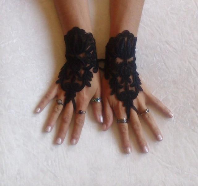 wedding photo - Black lace gloves french lace bridal gloves lace wedding fingerless gothic gloves black camarilla gloves burlesque vampire glove guantes