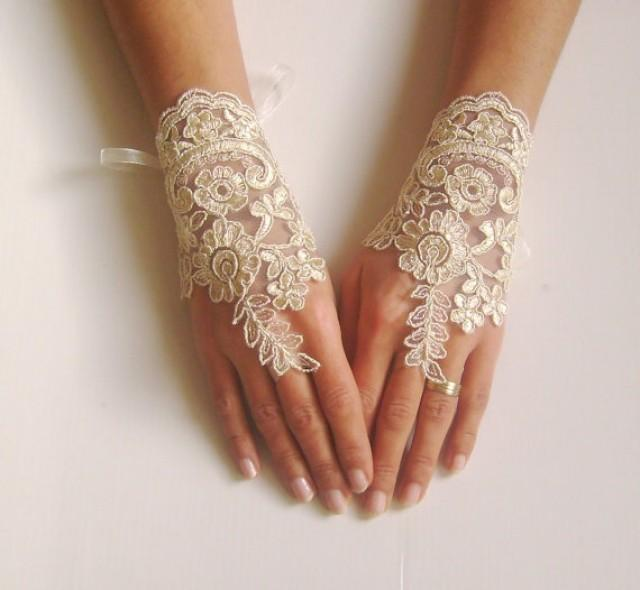 wedding photo - Wedding gloves Champagne bridal gloves fingerless lace gloves champagne gloves french lace gloves free ship