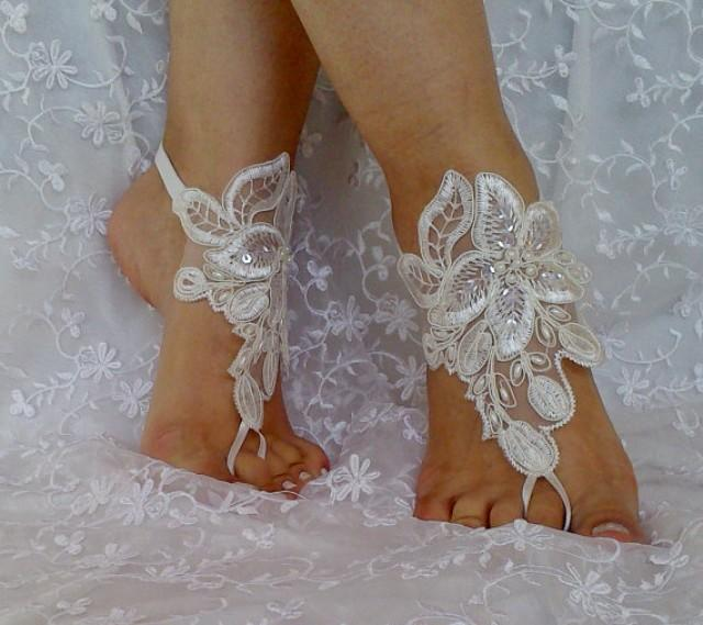 wedding photo - ivory beaded lace barefoot sandal wedding shoe