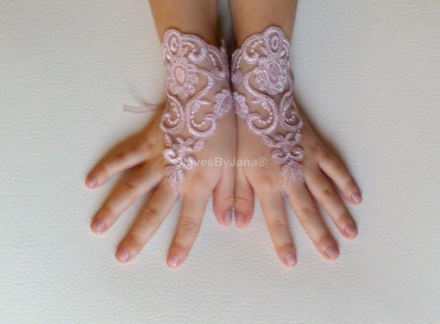 wedding photo - Flower girl pink silver frame lace gloves wedding bridal gloves french lace for princess wedding gloves lace