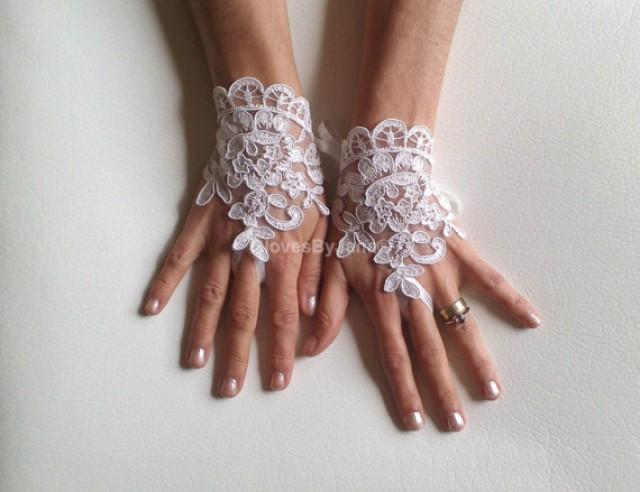 wedding photo - Bridal Gloves, Wedding Gloves, Ivory Lace gloves, Fingerless Gloves, Ivory wedding, cuffs, wedding cuffs, bride, bridal gloves, Bridal cuffs