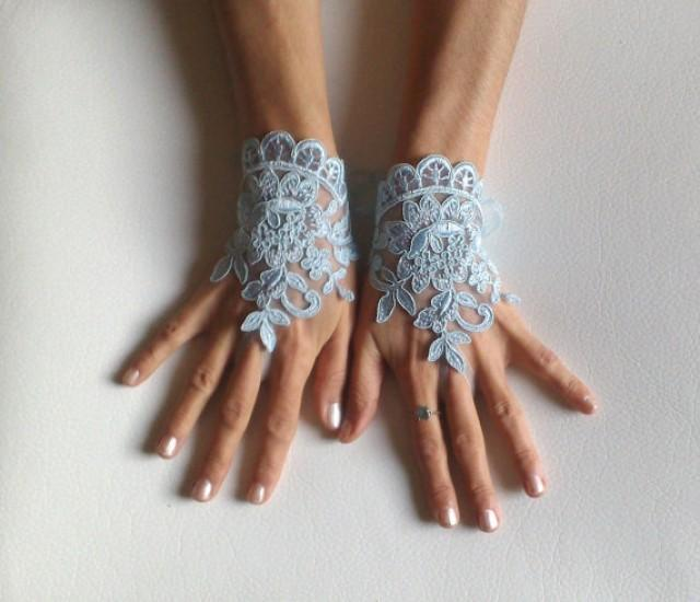 wedding photo - Something blue wedding glove free ship bridal wedding fingerless french lace blue wedding gloves gauntlets guantes rustic elegant