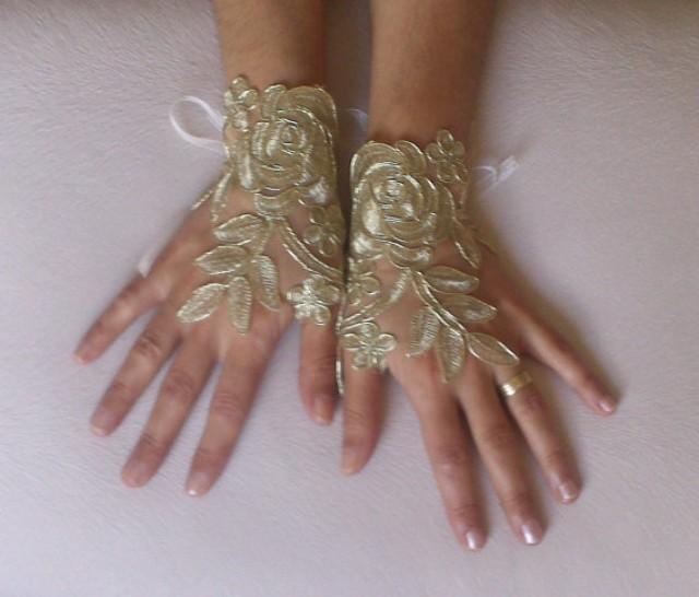wedding photo - Gold Wedding gloves free ship bridal gloves fingerless lace gloves french lace gloves gauntlets guantes bohemian gold