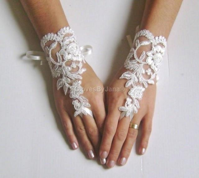 wedding photo - ivory or white Wedding Glove,lace gloves, Fingerless Glove,wedding gown, UNIQUE Bridal glove, wedding bride, bridal gloves, FREE SHIP