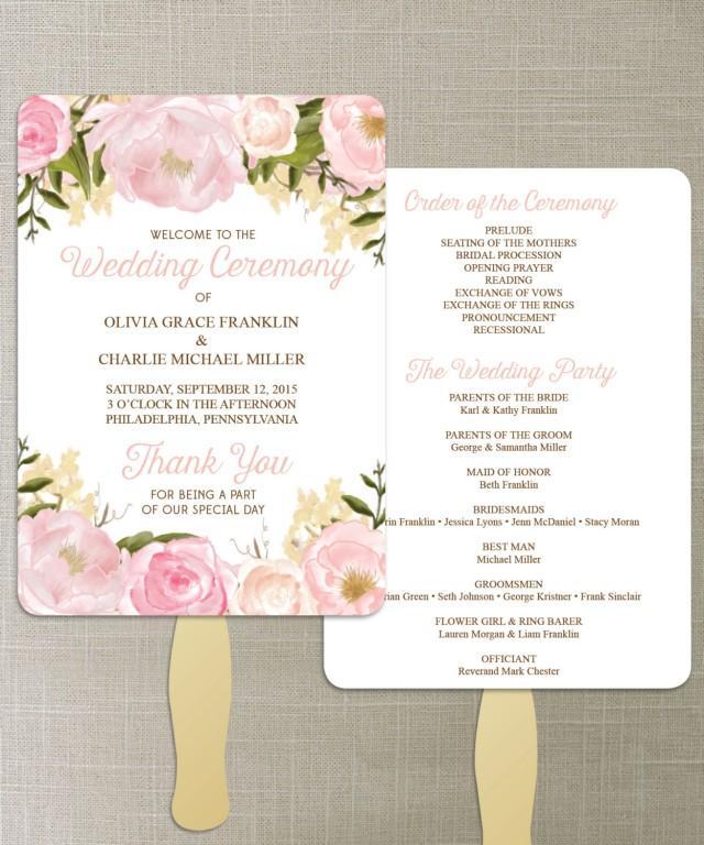Instant Download Floral Diy Printable Wedding Fan