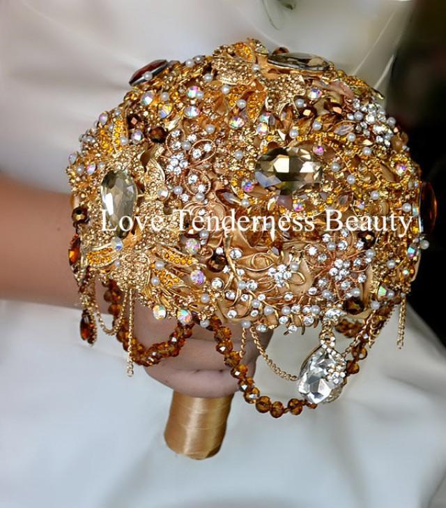 BAROQUE BROOCH BOUQUET Gold Wedding Brooch Bouquet Amber Bridal Bouquet Brown Jeweled Bouquet