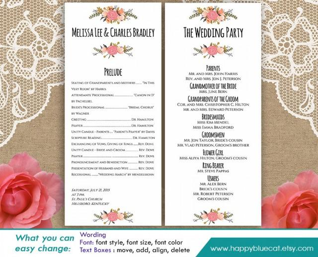Diy printable program wedding template instant download for Free wedding program templates word