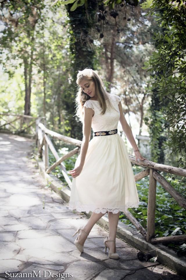 50s Inspired Wedding Dress Of Ivory 50s Wedding Dress Short Wedding Dress Original 50s