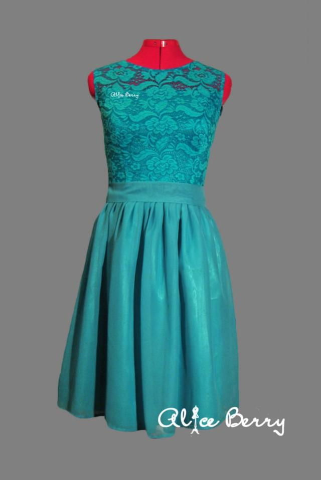 Turquoise Bridesmaid Dress Long Turquoise Lace Dress ...