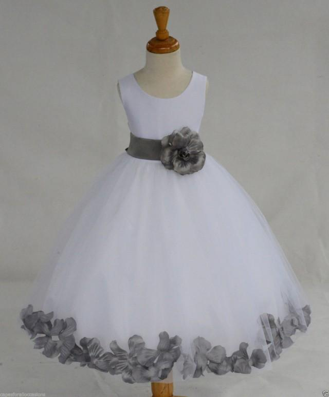 White Flower Girl Dress Bow Sash Pageant Petals Wedding ...