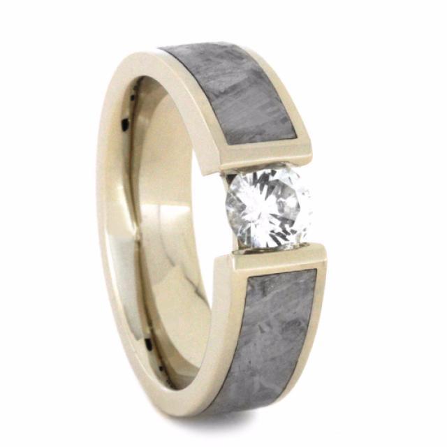 wedding photo - Meteorite Engagement Ring with White Sapphire