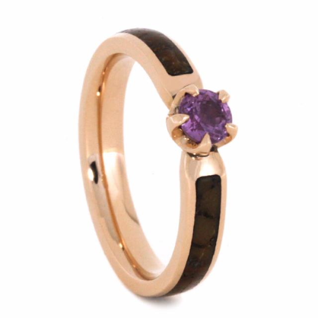 wedding photo - Pink Sapphire Engagement Ring in 14k Rose Gold with Dinosaur Bone