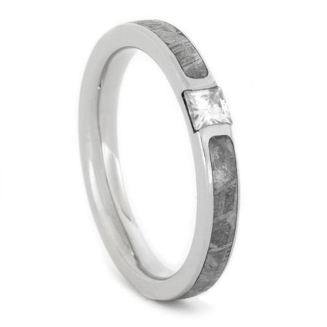 wedding photo - Palladium Engagement Ring with Meteorite and Square Moissanite
