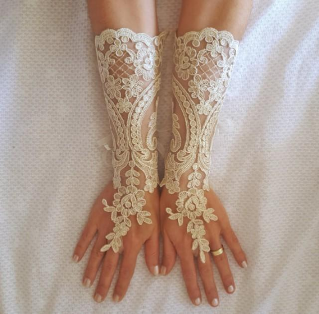 wedding photo - Long champagne gold or Ivory Wedding gloves free ship bridal fingerless french lace arm warmers cuff gauntlets fingerloop, Long lace glove