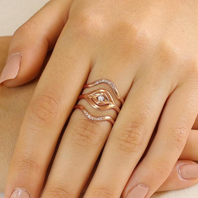 Diamond Engagement Ring Set 14K Rose Gold Engagement Solitaire Ring Women