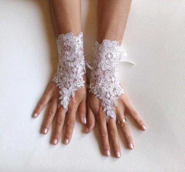 wedding photo - Ivory Wedding gloves bridal gloves lace gloves fingerless gloves ivory gloves guantes french lace silver frame gloves free ship