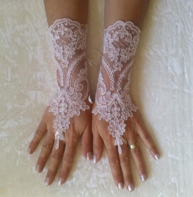 wedding photo - Blush pink ivory frame lace gloves free ship cuff fingerless lace gauntlets bridesmaid pinkish