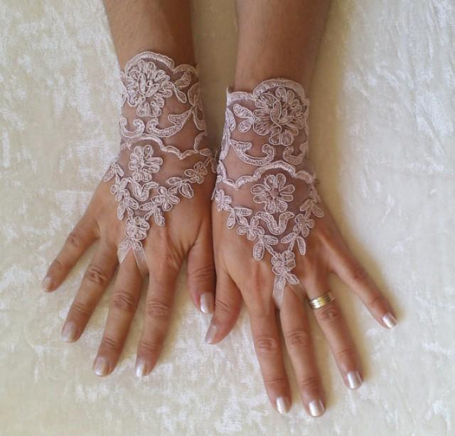 wedding photo - milk chocolate Wedding gloves free ship happiness bridal gloves fingerless lace gloves milk chocolate gloves french lace gloves free ship